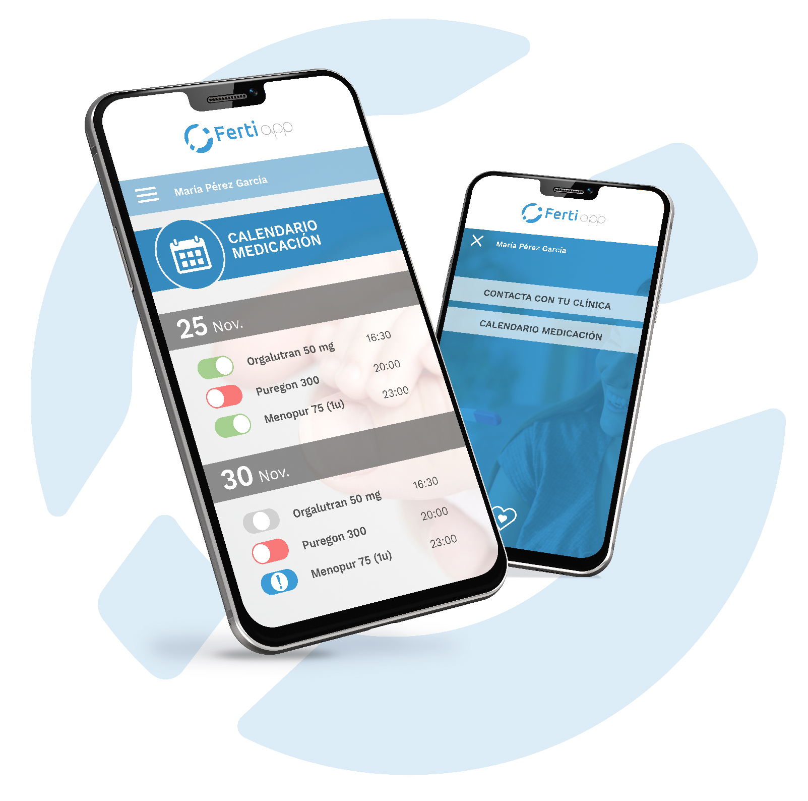 Fertiapp: imagen del funcionamiento de la app en un smartphone